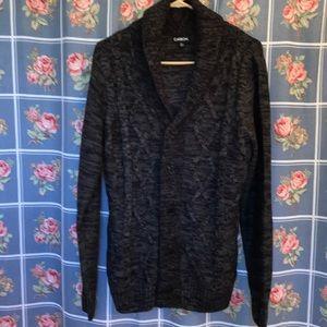 Carbon Sweaters - Carbon black verigated medium button up sweater